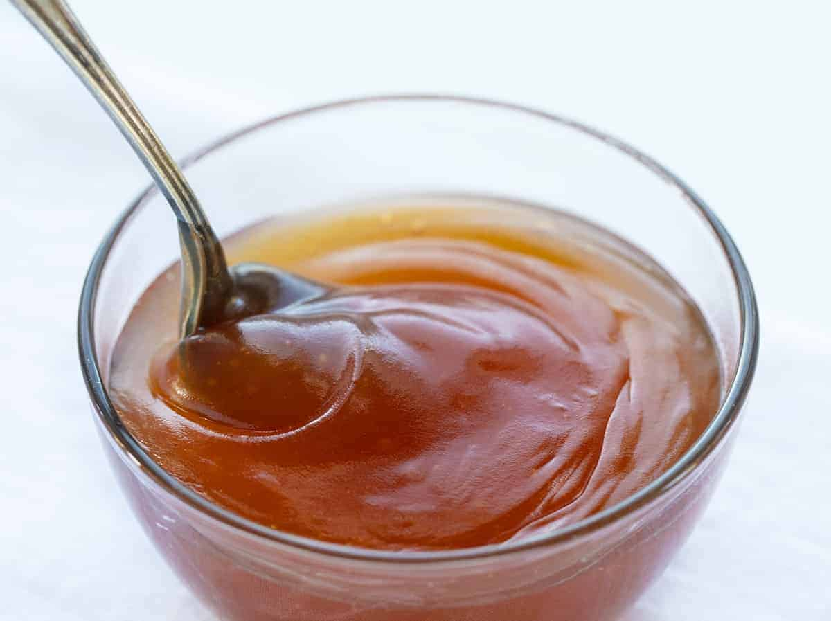 Spoon Stirring Homemade Sweet and Sour Sauce