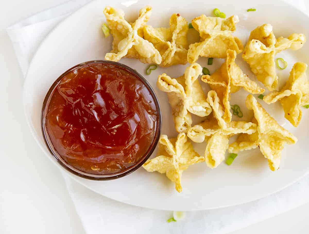 Overhead Image of Sweet and Sour Sauce with Cream Cheese Wontons
