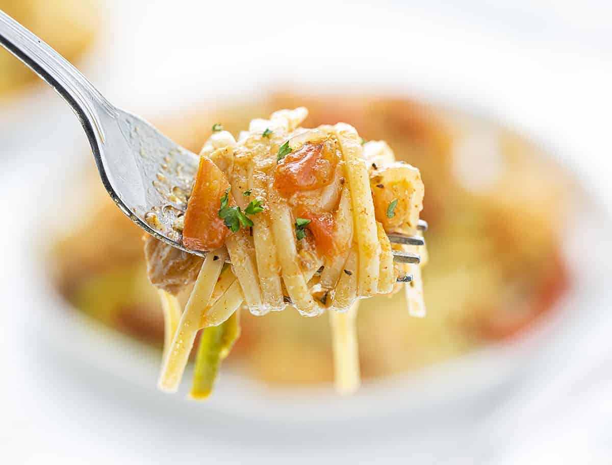 Cajun Chicken Jumbalaya Pasta Noodles Wrapped Around a Fork