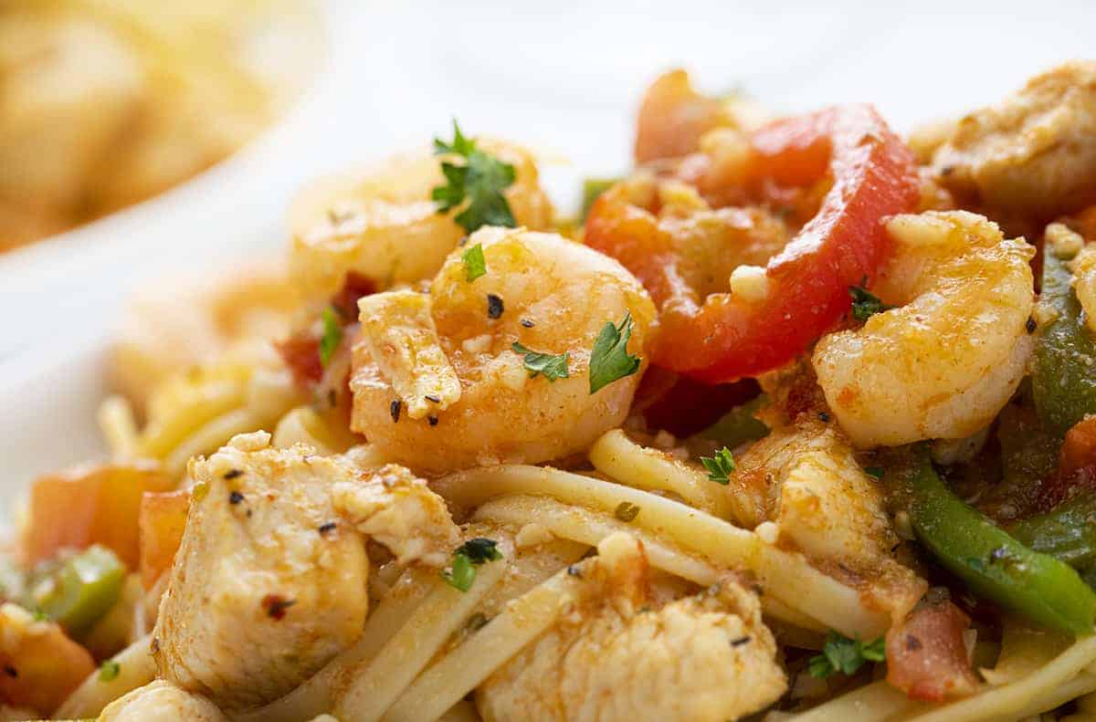Very Close up of Shrimp Chicken Vegetable and Noodles that make up Cajun Chicken Jumbalaya Pasta