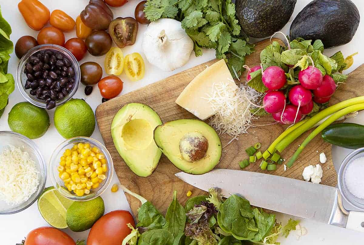 Overhead Image of Ingredients for California Guacamole Salad from Cheesecake Factory