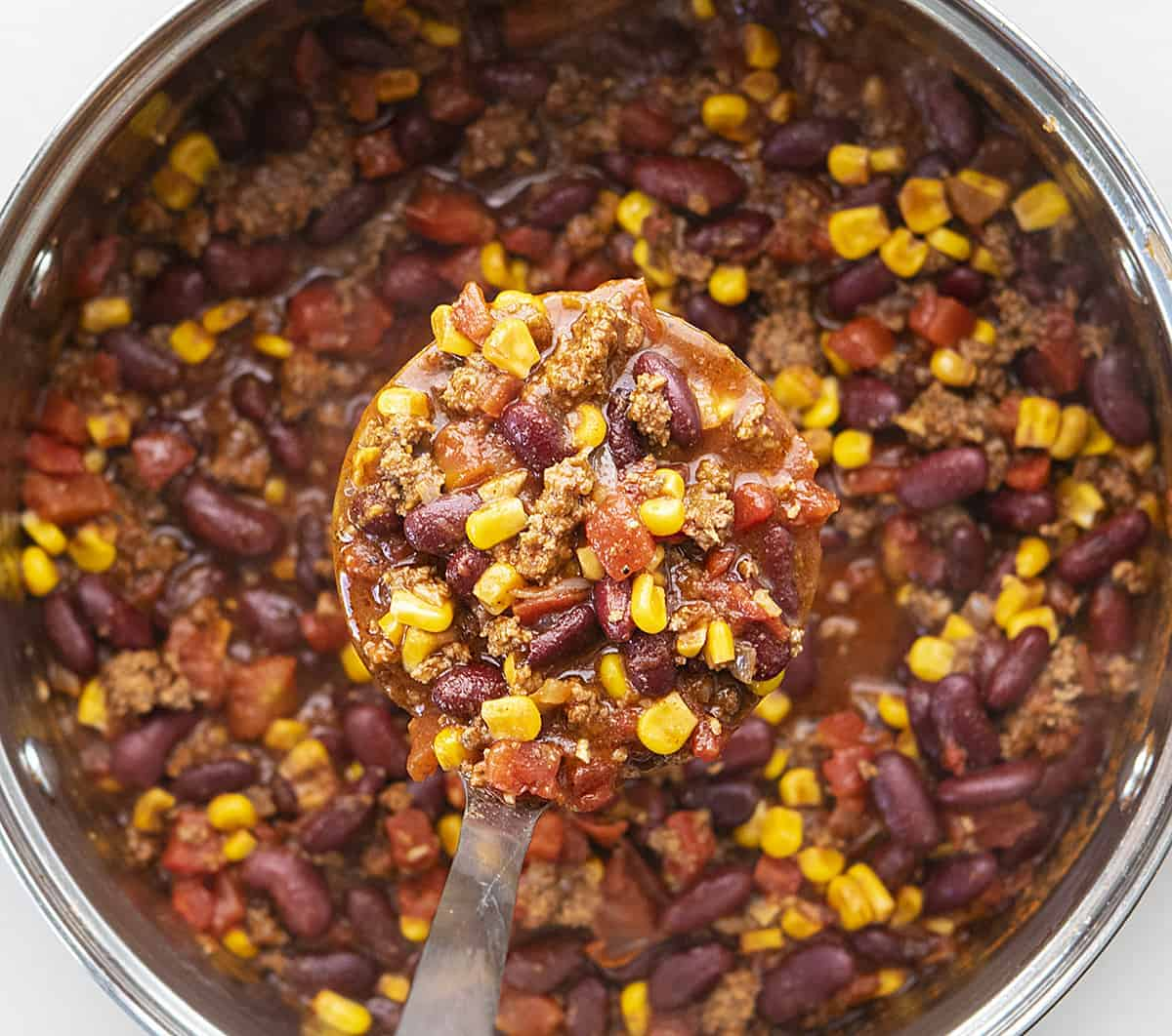 Spoonful of Chili for Chili Macaroni and Cheese Recipe