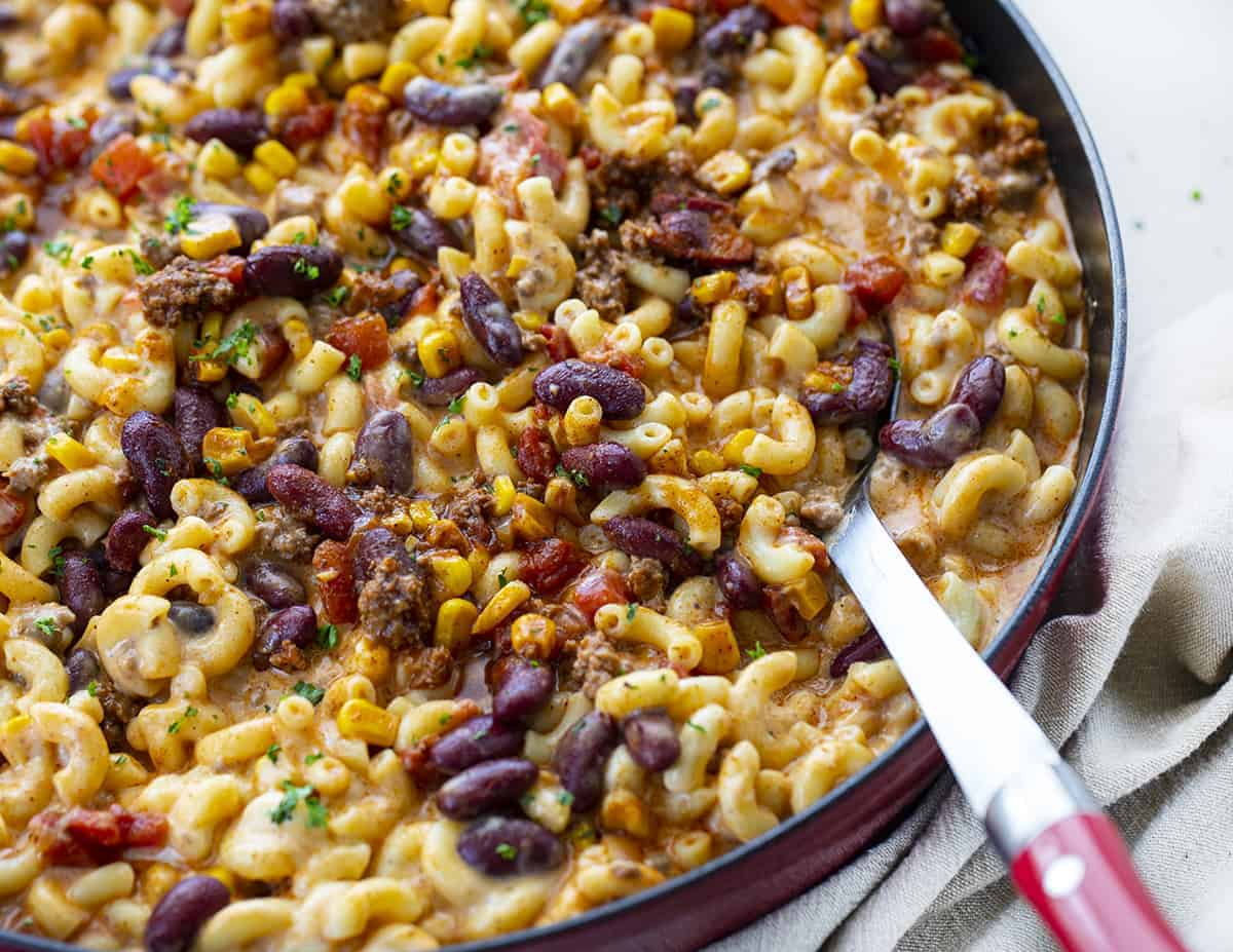 Chili Macaroni and Cheese in a Red Skillet