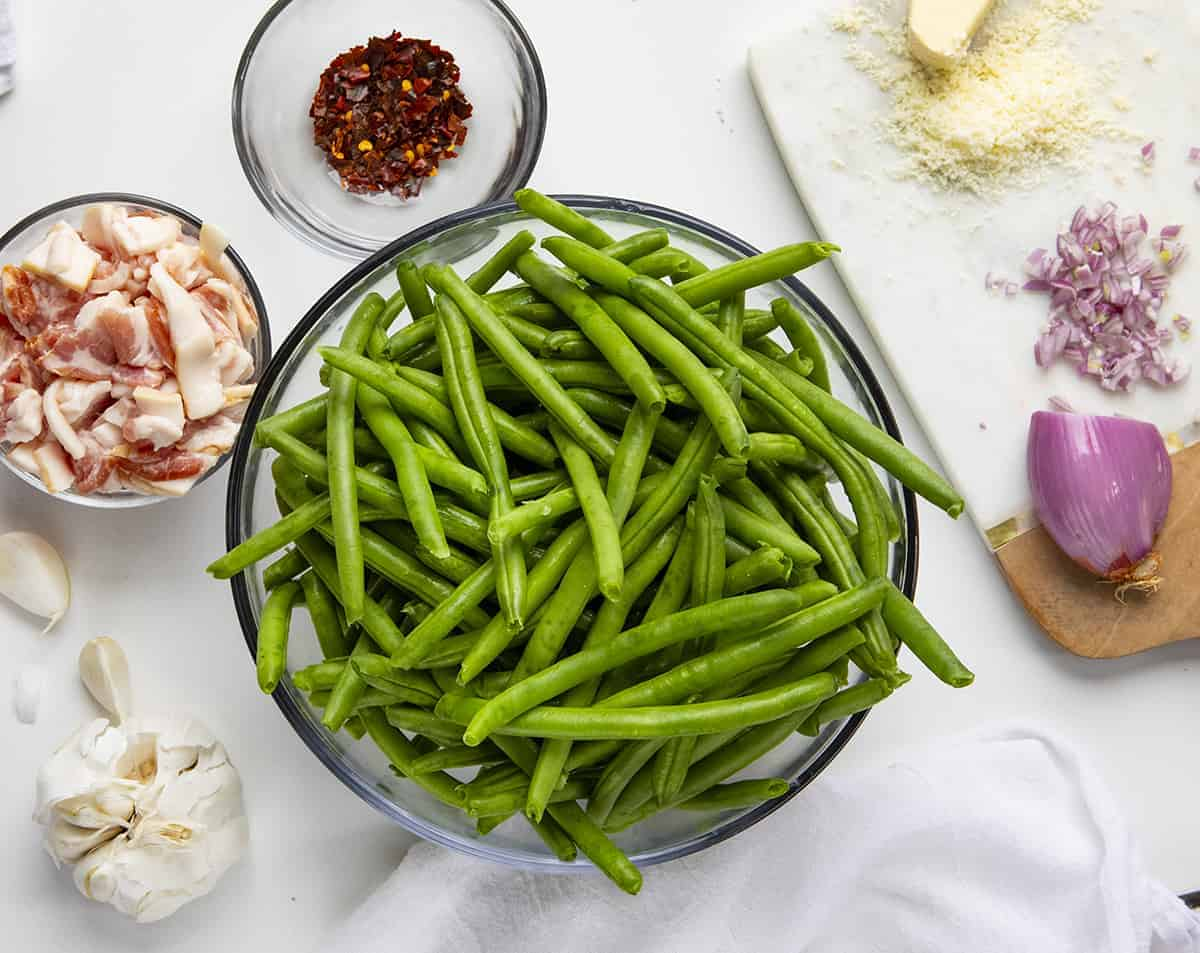 Raw Ingredients for Spicy Green Beans with Bacon Recipe Shown from Overhead