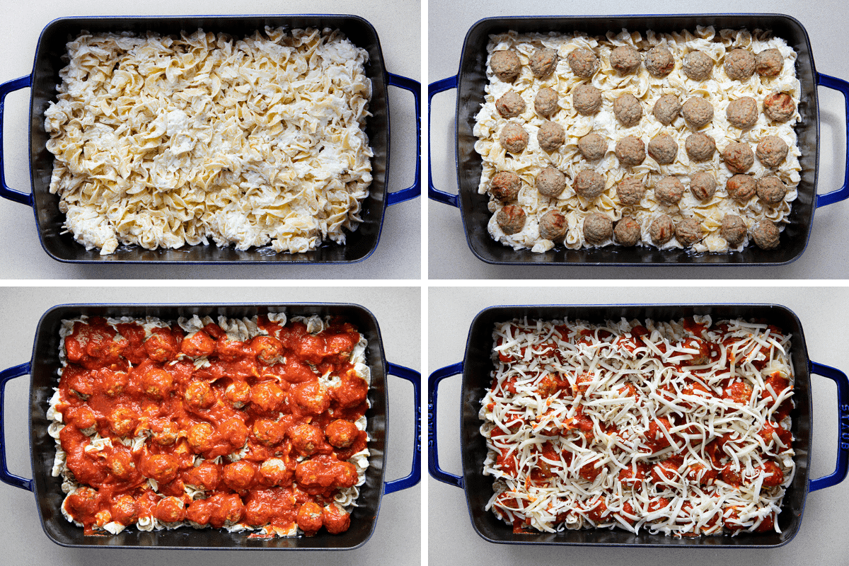 Four Process Images of the Individual Layers of Meatball Casserole - Noodles, Meatballs, Sauce, and More Cheese