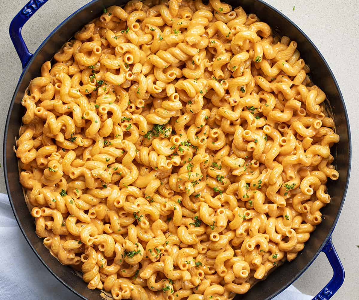 Overhead View of Copycat Carbone's Spicy Pasta in a Blue Staub Skillet