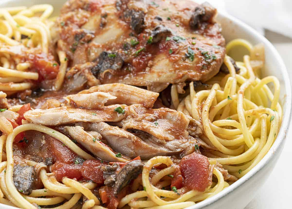 Close up of Moist Chicken Cacciatore over Noodles in White Bowl
