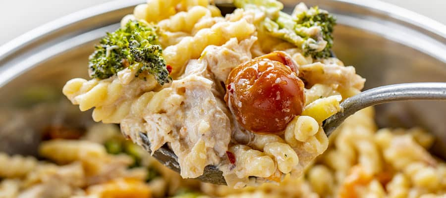 Creamy Chicken Pasta with Roasted Vegetables