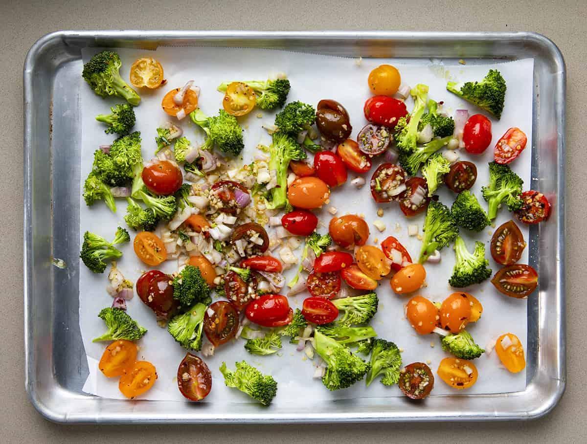 Pan of Ingredients for Roasted Vegetables