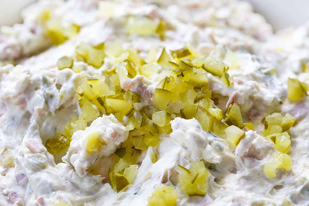 Very Close up of Dill Pickle Dip with Diced Pickles on Top