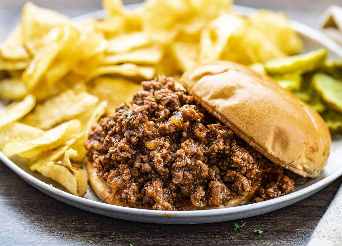 Plate of Sloppy Joe's with Chips and Pickles