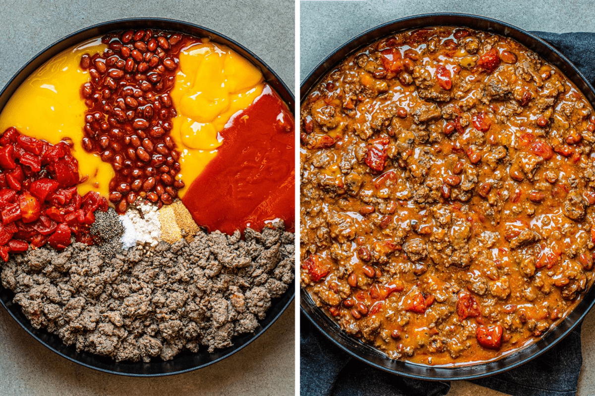 Side by Side Process Shots fo the Ingredients for Skillet Queso Dip Recipe