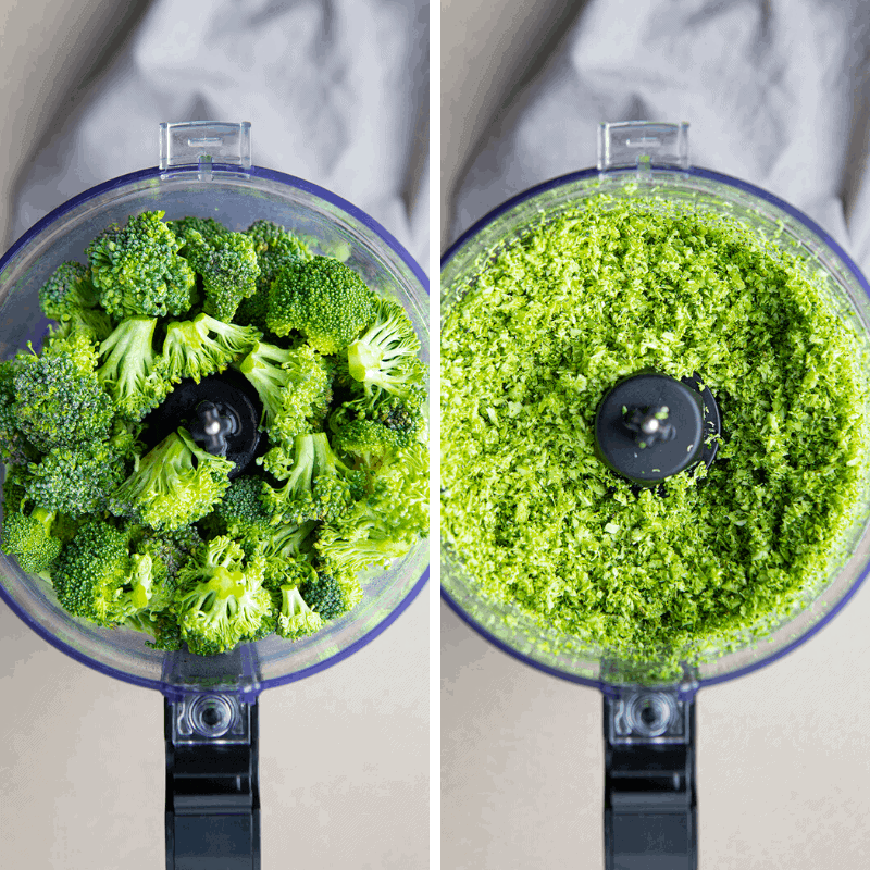 How to Process Broccoli for Baked Broccoli Bites - Overhead in Food Processor