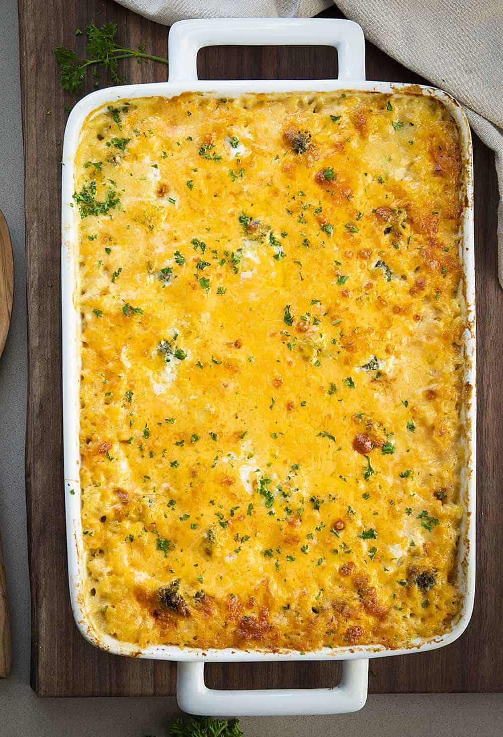 Overhead of Chicken Rice Casserole on Dark Cutting Board