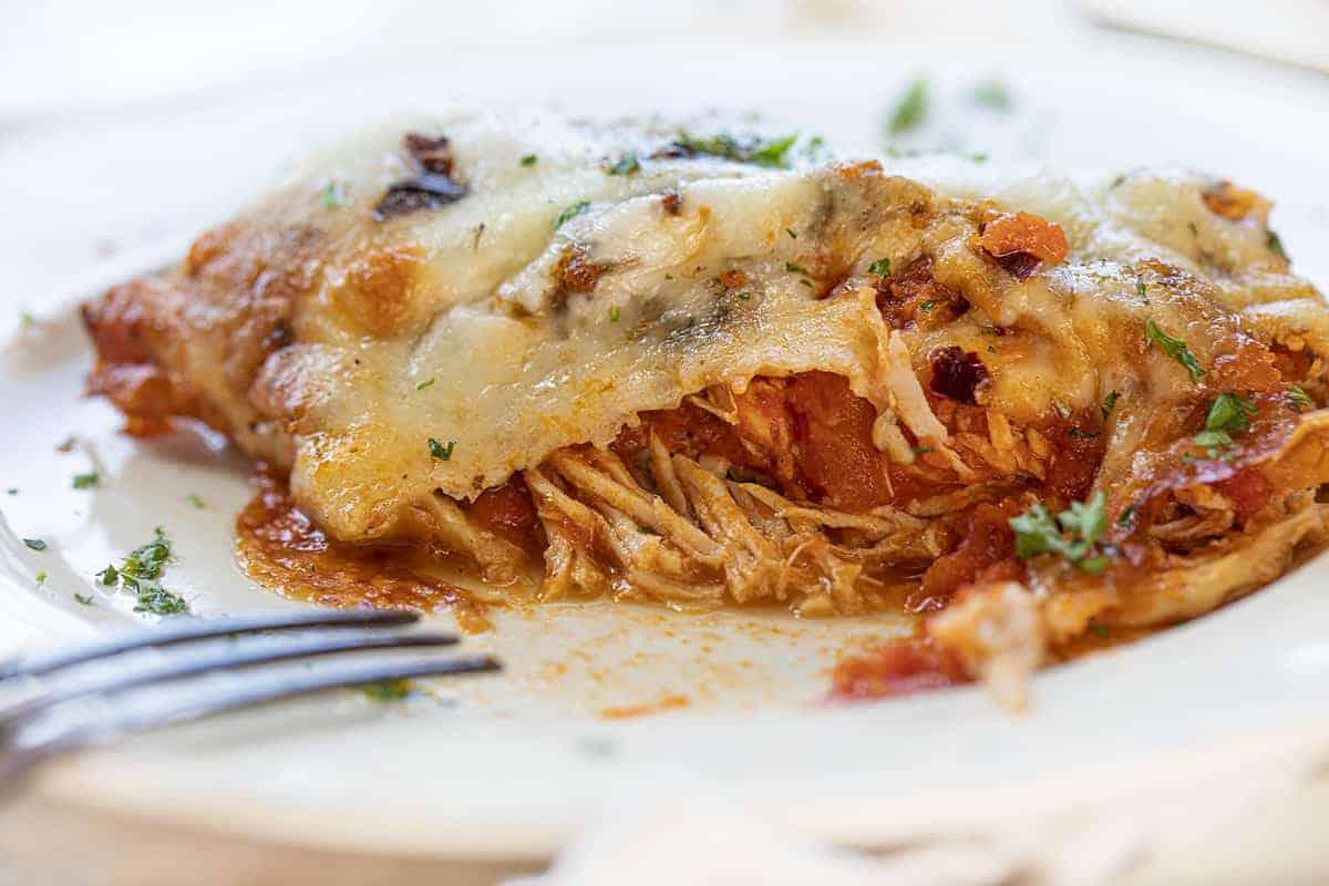 Showing Inside of Chicken Marinara Casserole with Juicy Chicken