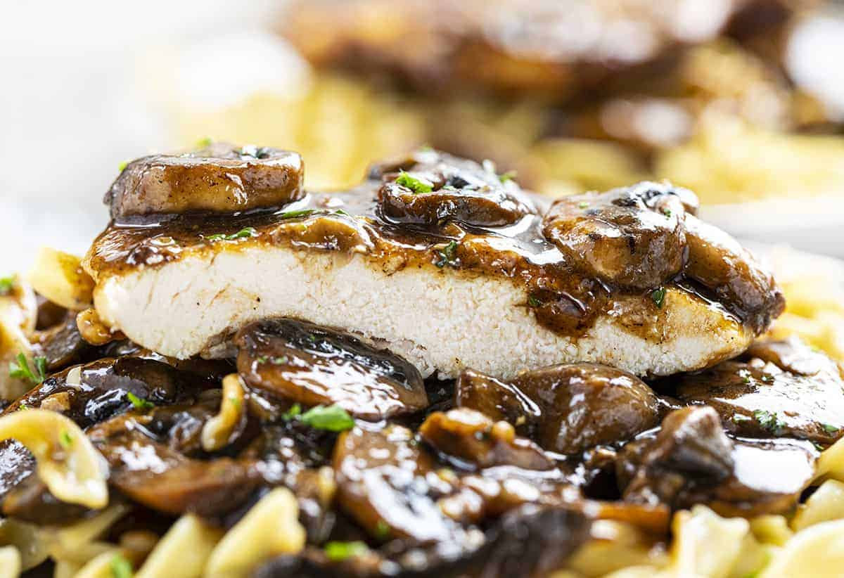 One Piece of Chicken Marsala on a bed of noodles