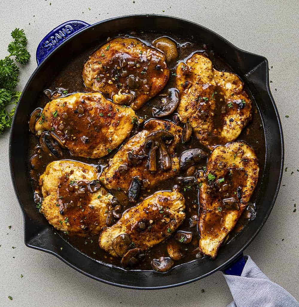 Overhead View of Chicken Marsala in a Blue Skillet
