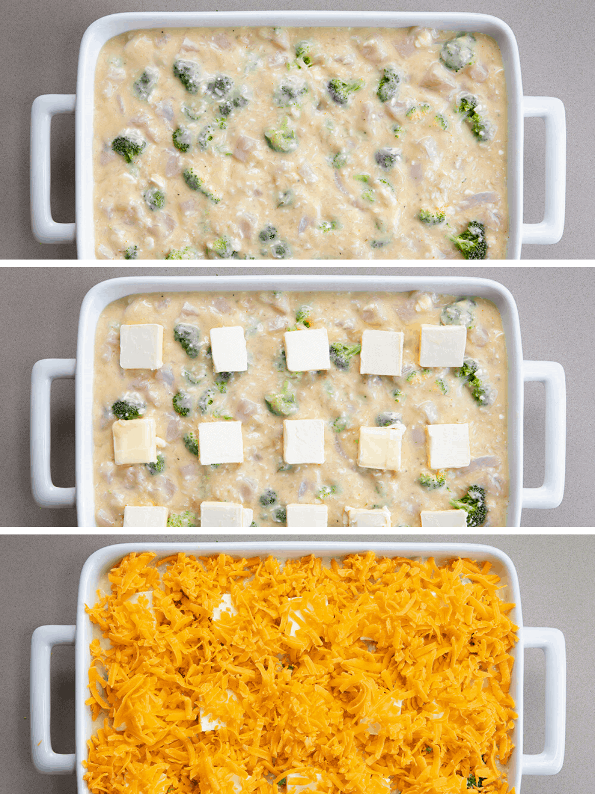 Three Process Images of Chicken Mixture, Chicken Mixture and Butter, and Chicken mixture with Cheese before Baking