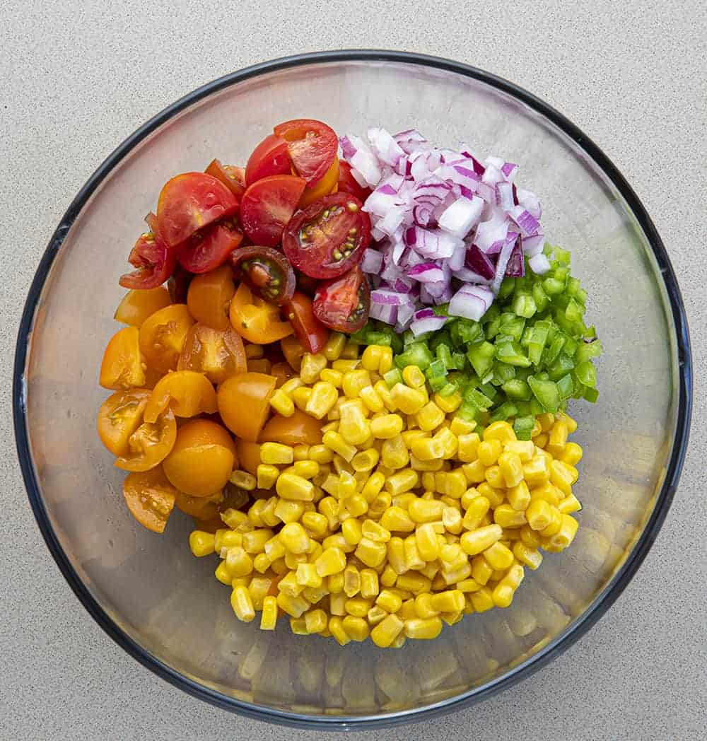 Overhead Image of Raw Ingredients for Chicken Bacon Ranch Salad Recipe