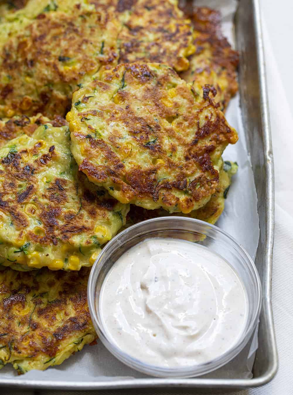 Zucchini Fritters in a Pan with Dipping Sauce
