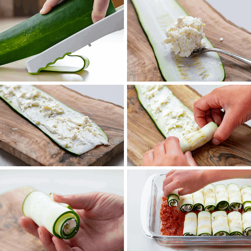 Process Shots in a collage of Zucchini being cut, filled, rolled, and placed in baking dish