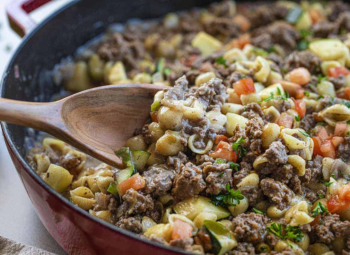 Wooden Spoon Lifting up Summer Goulash