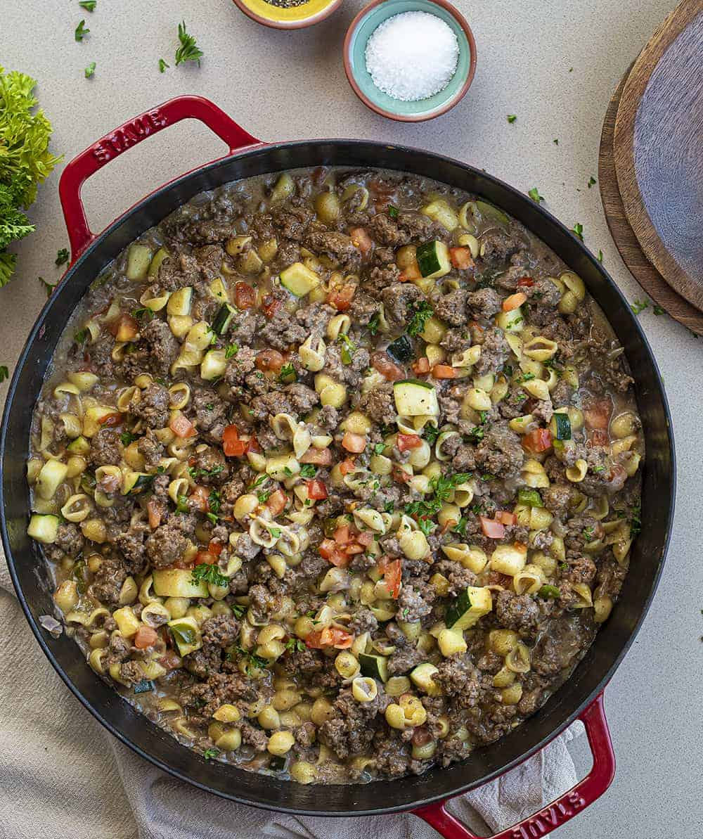 Overhead Image of Summer Goulash in Red Skillet