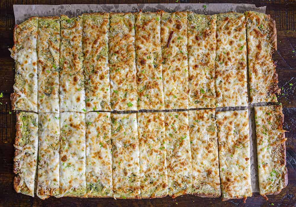 Overhead Image of Zucchini Cheesy Breadsticks Cut Into Strips