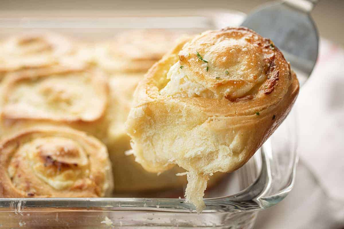 Removing Garlic Cream Cheese Roll from Pan
