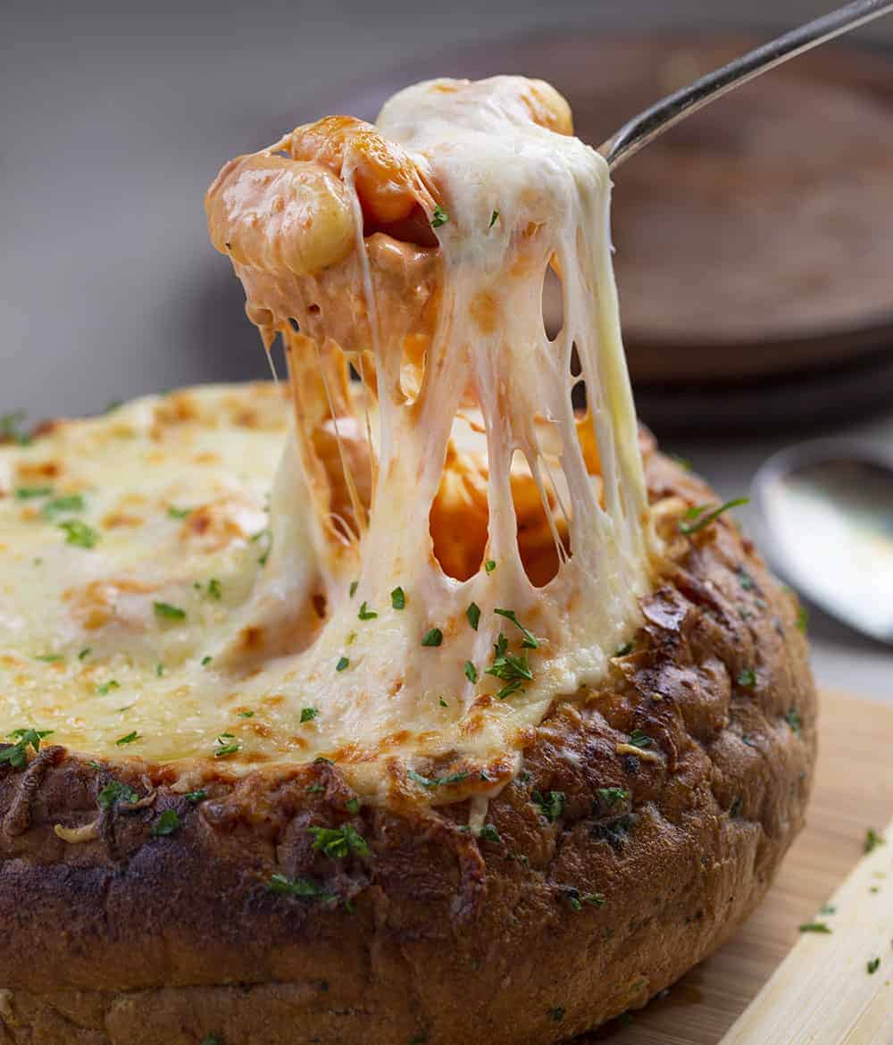 Spicy Gnocchi Bread Bowl with Cheese Stretched