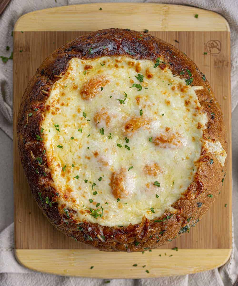 Overhead of Spicy Gnocchi Bread Bowl with Cheese