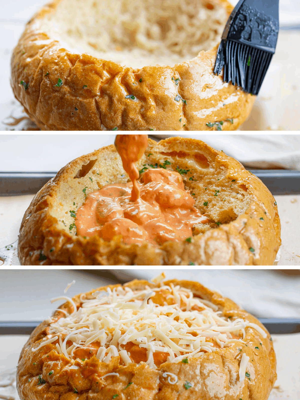 Process Images of How to Prepare Bread Bowl for SPicy Gnocchi