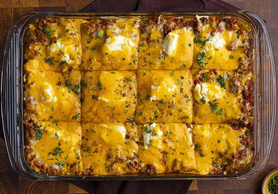 Overhead of Easy Lasagna Recipe Cut Into Pieces