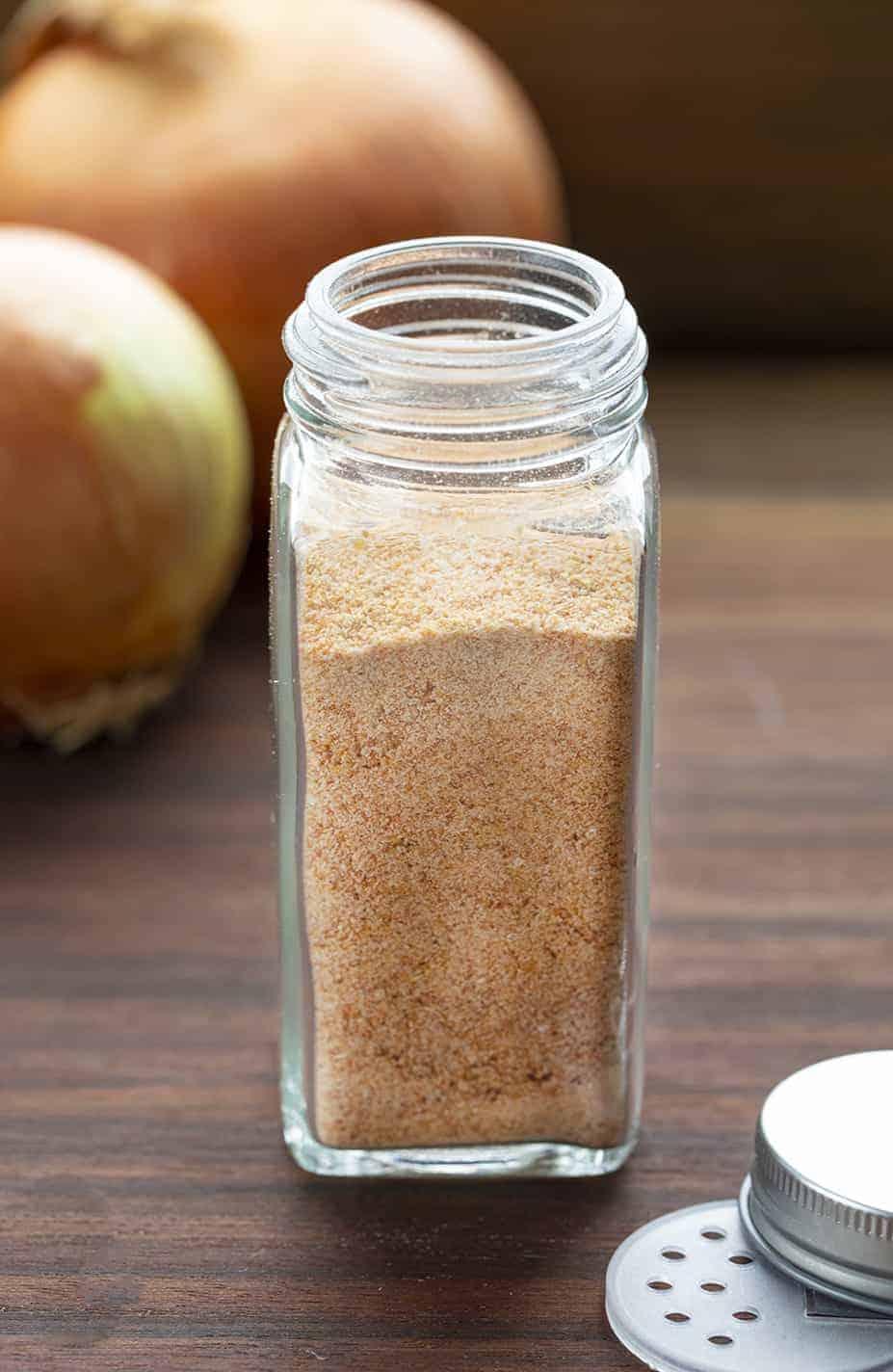 Homemade Onion Powder in Bottle
