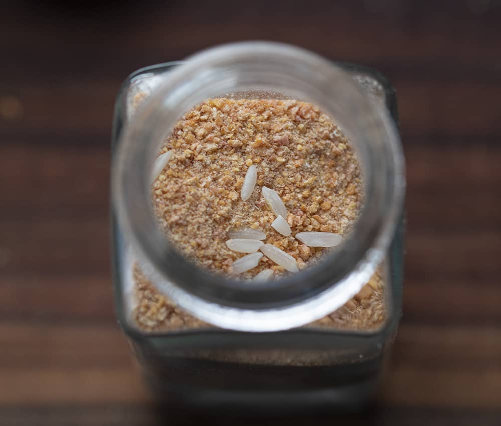 Rice in Jar of Homemade Onion Powder