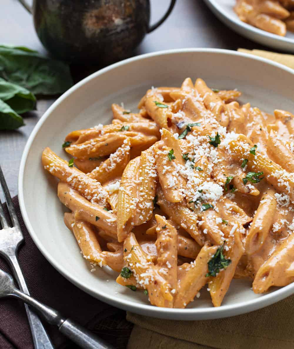 Plate of Vodka Sauce and Penne Noodles