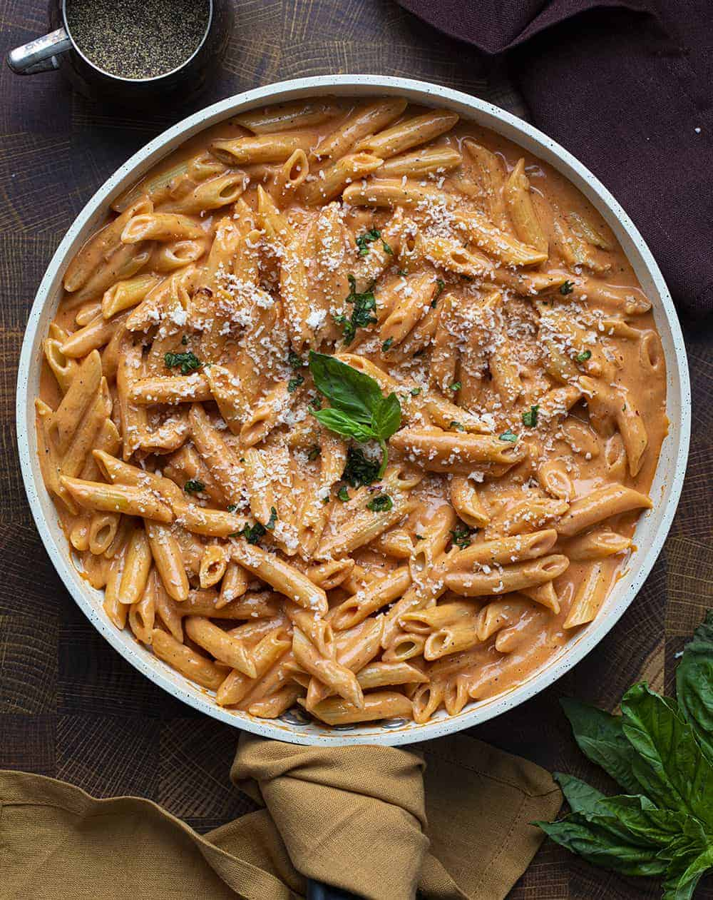 Vodka Sauce with Penne Noodles from Overhead in a Skillet