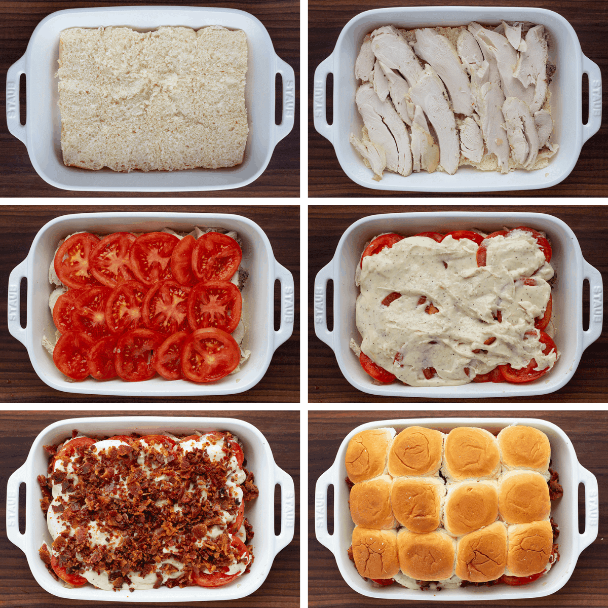 Process for Adding Ingredients to Kentucky Hot Brown Sliders