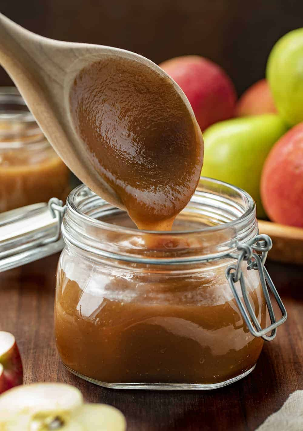 Adding Apple Butter to Jar