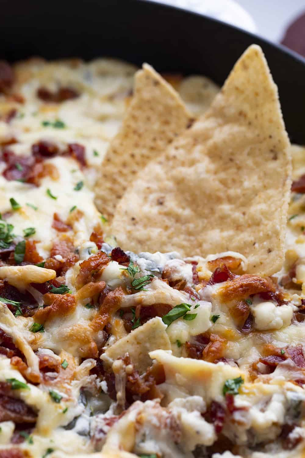 Chips in Bacon Spinach Dip