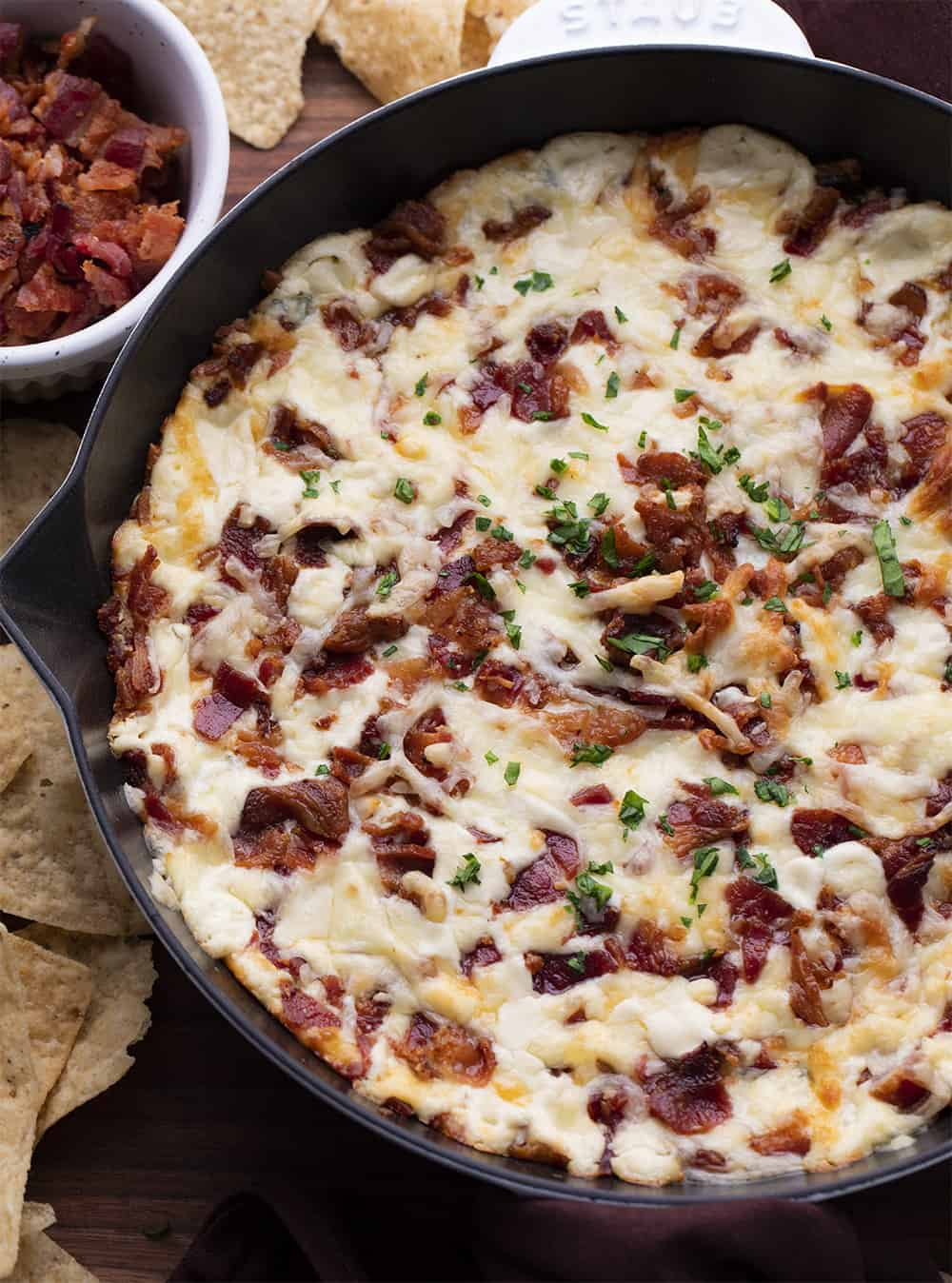 Spinach Bacon Dip in Skillet