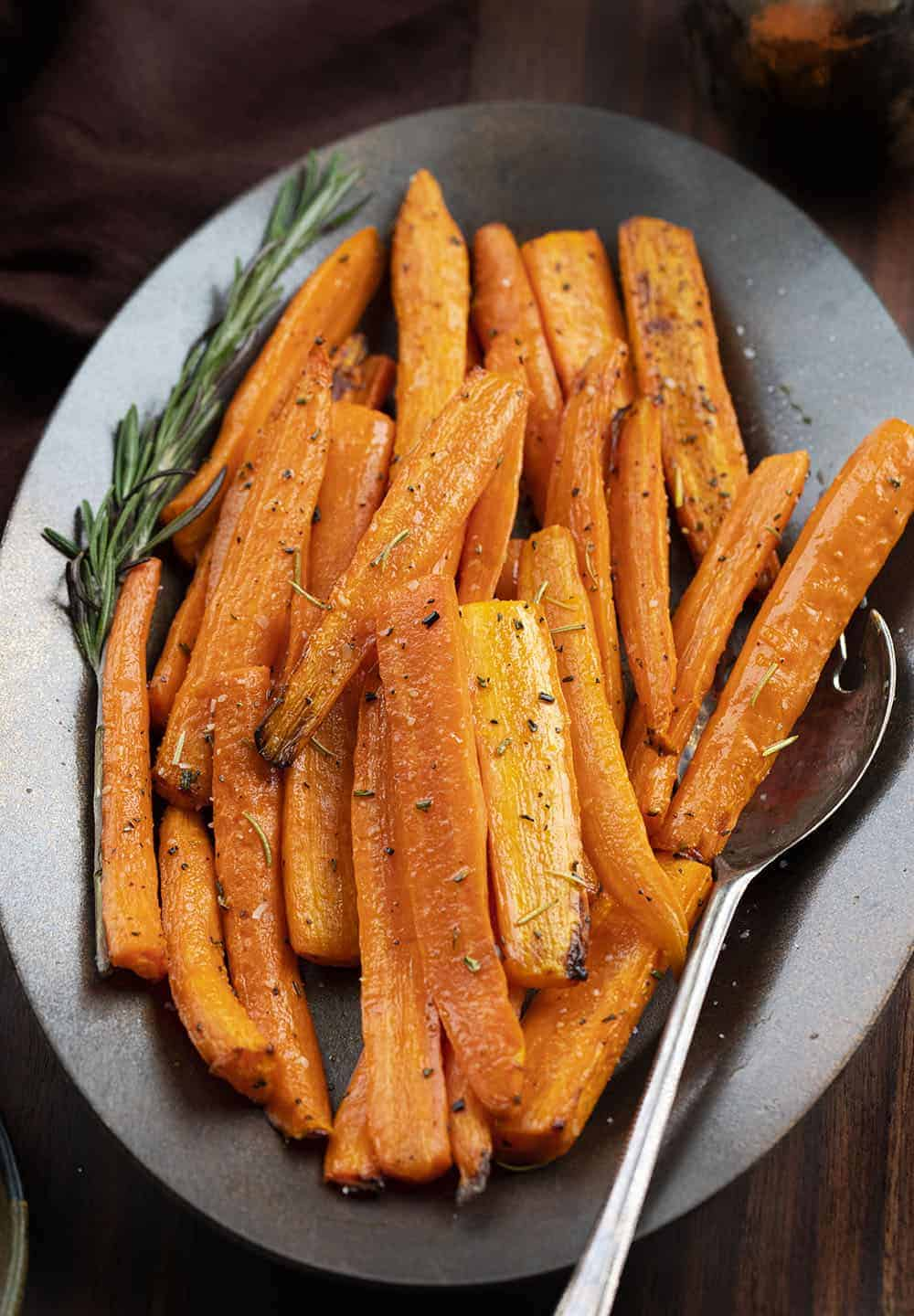 Plate of Air Fryer Carrots and Spoon