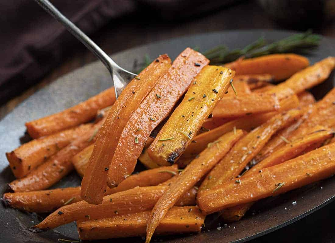 Spoon holding Air Fryer Carrots