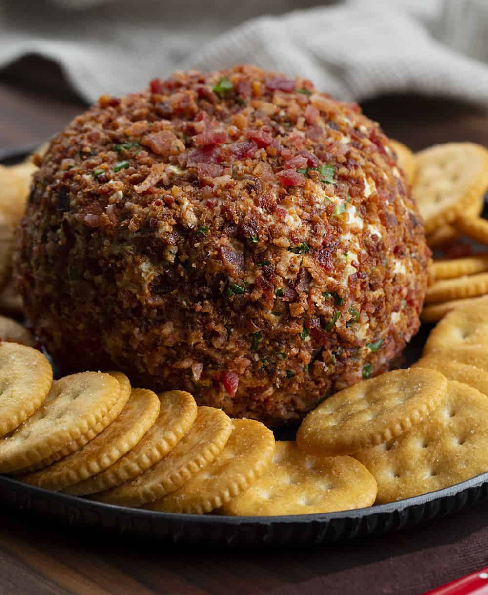 Bacon Jalapeno Ranch Cheeseball Surrounded by Crackers