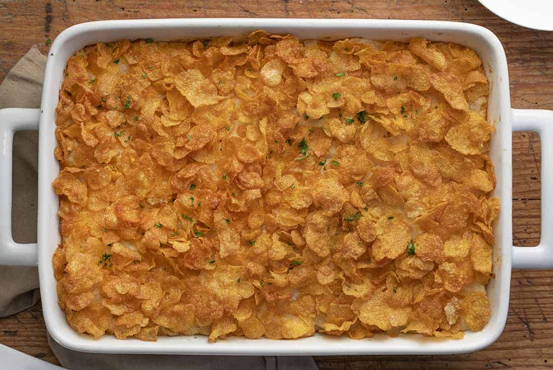 Funeral Potatoes - Cheesy Potato Casserole in Pan