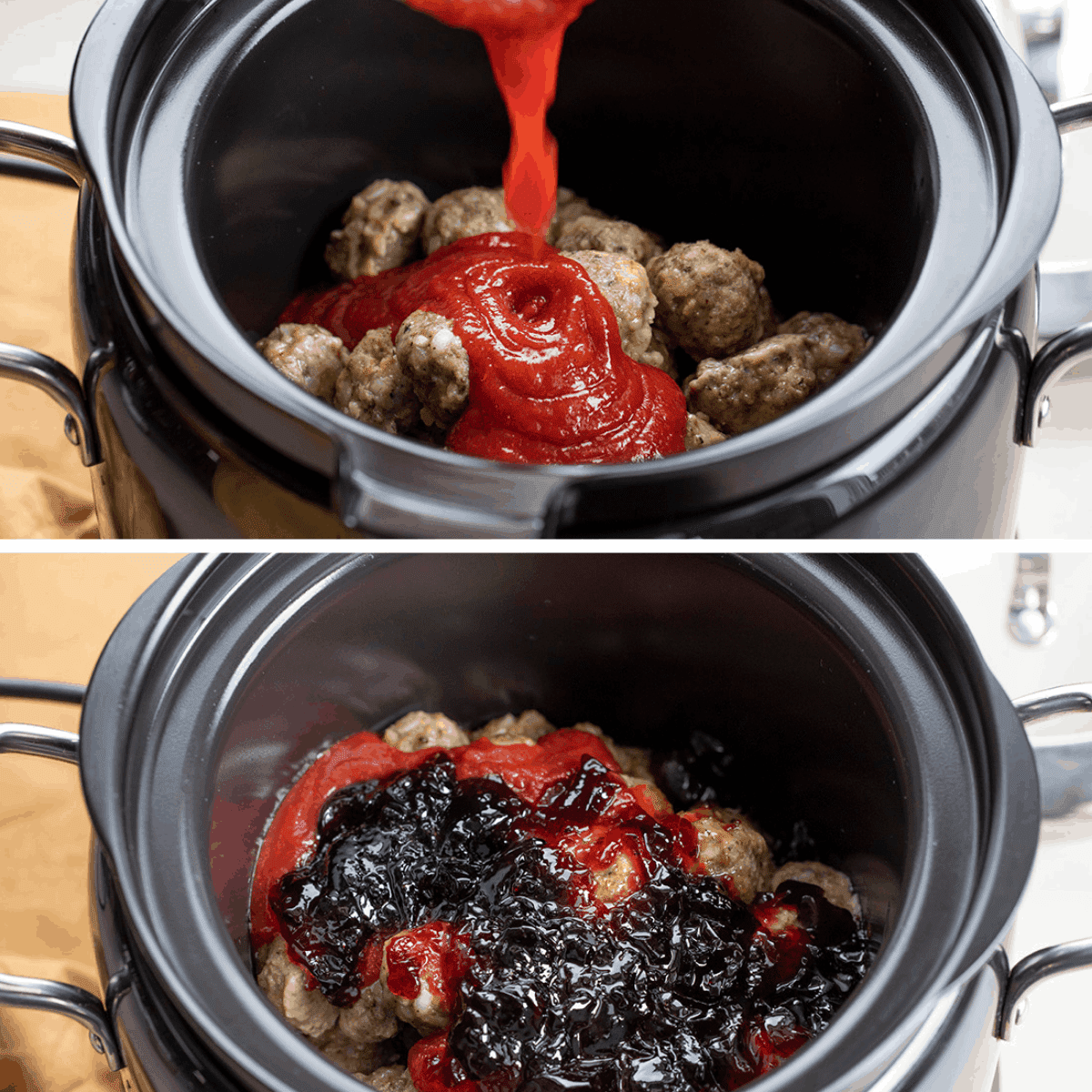 Ingredients Being Added to Grape Jelly Meatballs on Crockpot