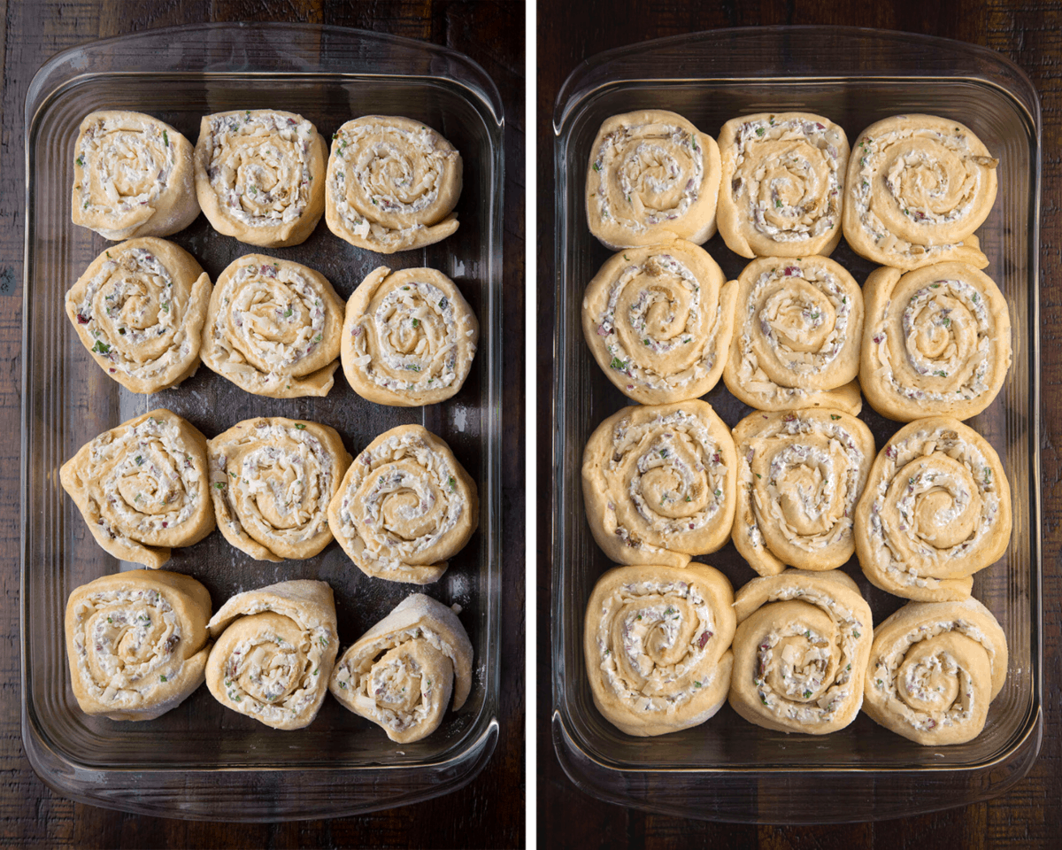 Jalapeno Popper Rolls Before and After Rising