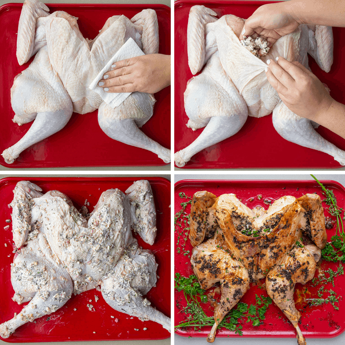 How to Spatchcock a Turkey and Cover with Herbs