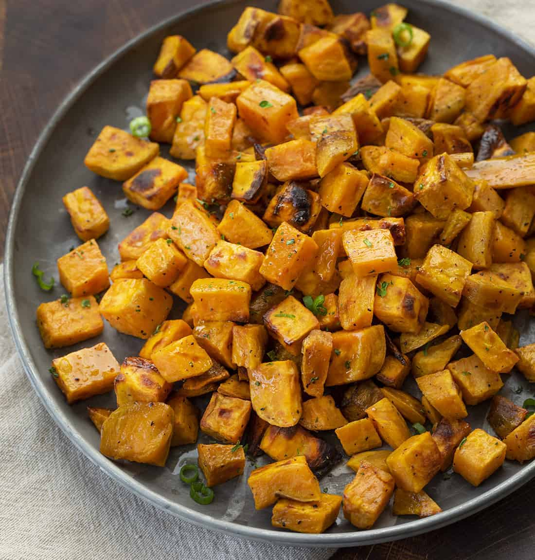 Roasted Sweet Potatoes on Plate