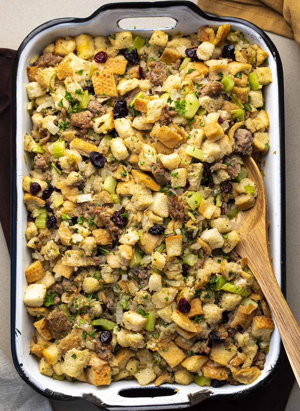 Sausage Stuffing in a Pan with Wooden Spoon